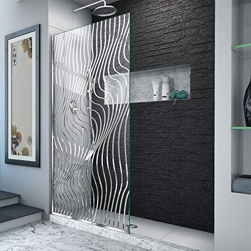 DreamLine Platinum Linea Surf 34 in. W x 72 in. H Single Panel Frameless Shower Screen in Polished Stainless Steel, D3234721M11-08