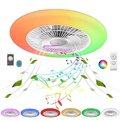 Plafon Ventilador Techo con Luz LED Silencioso Altavoz Bluetooth Música RGB Colores Circular Lampara Ventilador de Techo con Iluminación Mando a Distancia Regulable Dormitorio Comedor 48cm