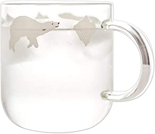 Fecihor Glass Mug Milk Cup with Handle Cute Cup with Polar Bear Print - Perfect Cup for Tea & Coffee - 350ml/12.3oz - Set of 1