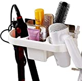 ZIZLY Self Adhesive Hair Dryer Holder Bathroom Wall Storage Shelf Organizer Stand Hooks, Bathroom Hair Dryer Rack, Hair Dryer Hanging Stand, Hair Blower Holder with Plug Hook (dryer stand plastic)