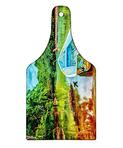 Lunarable Landscape Cutting Board, Old Boat in Tropical River in National Park of Costa Rica Nature Photo, Tempered Glass Serving Board, Wine Bottle Shape, Medium Size, Green Brown