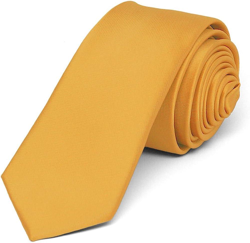 TieMart Gold Bar Skinny Solid Color Necktie, 2