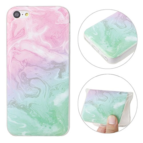 iPhone 5C Silikon Handyhülle mit Marmor, iPhone 5C Hülle Silikon, Moon mood Soft Schutzhülle für Apple iPhone 5C Ultra Thin Dünn Weiche TPU Bumper Schutz Cover, iPhone 5C Backcover Soft Etui Hülle