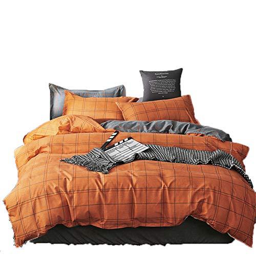 AYMAYO Bettwäsche 200 x 200 aus Mikrofaser Orange Gittermuster, mit Reißverschluss 3 teilig