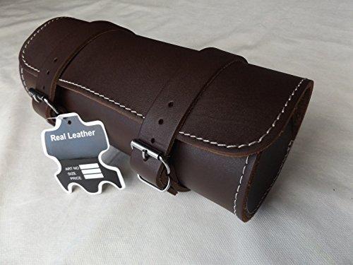 Full Grain Cowhide Leather Motorcycle Motorbike Tool Roll Saddle Bag TR9
