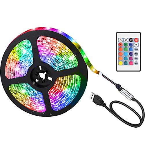 Striscia LED Multicolore, Ruixin 2M 60 LED RGB 5050 Striscia Luminosa con Telecomando, Impermeabile TV Retroilluminazione USB con 16 Colori e 4 Modalità per Cucina, Decorazioni, Natale, Festa