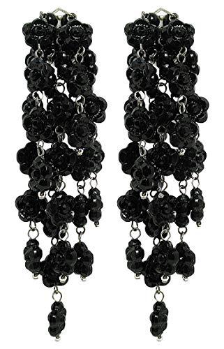 VINTAGE - Orecchini con clips fatti a mano, 7 pendenti di fiorellini Neri in resina, originali anni 60, lunghezza cm. 9 - made in Italy
