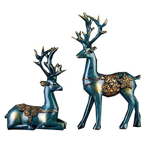 PET HOUND Lifestyle Moderne Figurine Statues Accessoires de décoration2 pcs résine cerf Figurine Statue Sculpture Cadeaux créatifsUtilisé pour la décoration de Bureau à Domicile