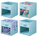 mDesign Juego de 4 cajas organizadoras de tela – Organizador de armario para ropa de bebé, mantas, etc. – Caja de almacenaje de lunares con asa y ventanilla – lunares azul turquesa/blanco
