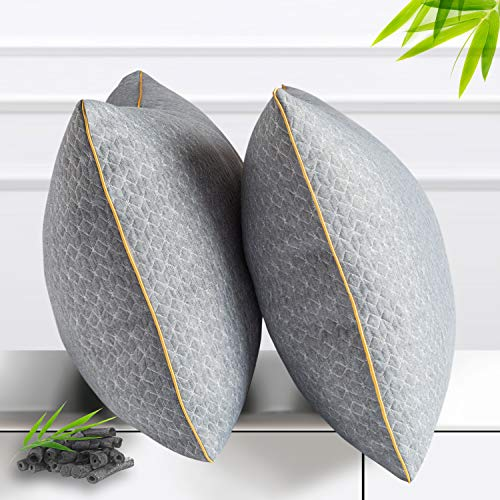 BedStory Almohada de Carbón de Bambú 50x75 Almohada Fibra Lavable Almohada Antiácaros de Poliéster Relleno de Almohadas de Calidad Hotelera Pack de 2