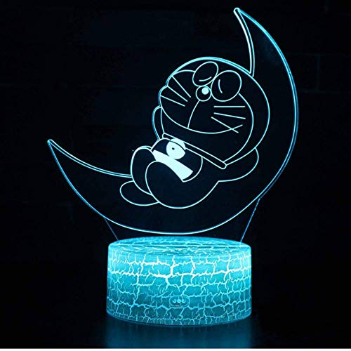 Luna Doraemon Tema 3D Lampada Led Night Light 7 Cambia Colore Touch Mood Lamp Regalo Di Natale