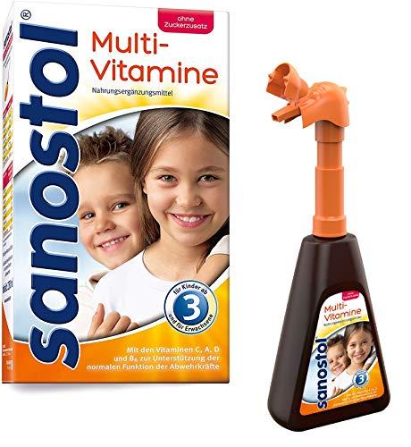 Sanostol ohne Zuckerzusatz mit Pumpspender: Multi-Vitamine für Kinder ab 3 Jahren und Erwachsene, unterstützt ein gesundes Immunsystem mit den Vitaminen A und D, 230ml