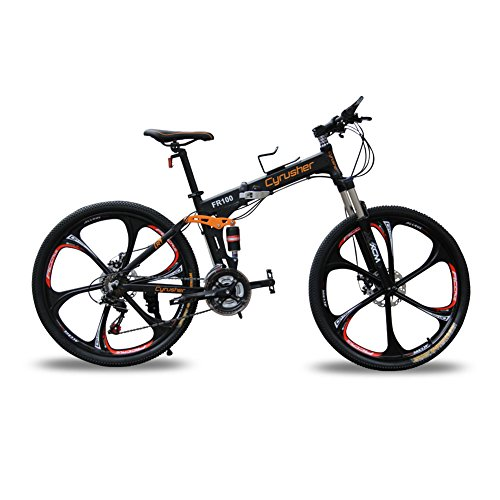 Cyrusher FR100 Folding Mountain Bike Full Suspension 24 Speeds Shimano Shifter with Aluminium Frame...