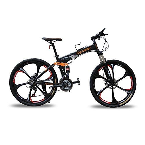 Mountain bike Cyrusher, modello: FR100, colore: giallo, con telaio pieghevole, a doppia sospensione, da uomo, con cambio Shimano M310 ALTUS a 24 velocità nero opaco, telaio in alluminio da 43,2 cm x 66 cm, con freni a disco