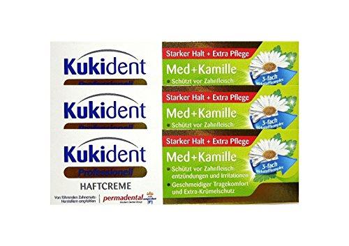 3x Kukident Haftcreme Med + Kamille á 40g Starker Halt + Extra Pflege