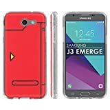 Samsung Galaxy Emerge [2017] J327 J317 Mission Eclipse | Luna Pro Silicone Rubber Gel Phone Cover [Case86] [Clear] Gel Gummy Phone Case - [Poke Red] for Galaxy SGH-I317 [5' Screen]