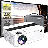 Native 1080p Projector with a Bag,9000 Lux 4k Projector for Outdoor Movies with 450'Display,Support Dolby & Zoom,Compatible with TV Stick,HDMI,VGA.USB,Smartphone,PC