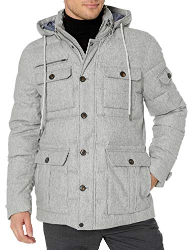 Amazon Brand - Buttoned Down Men's Water Repellant Duck Down Wool Flannel Parka, Grey L