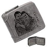 Personalizado de Foto Carteras, Grabada Monedero Personalizadas Hombre,Cuero Billetera con Cremallera,Regalos para Hombre Cartera Mujer (Gris)