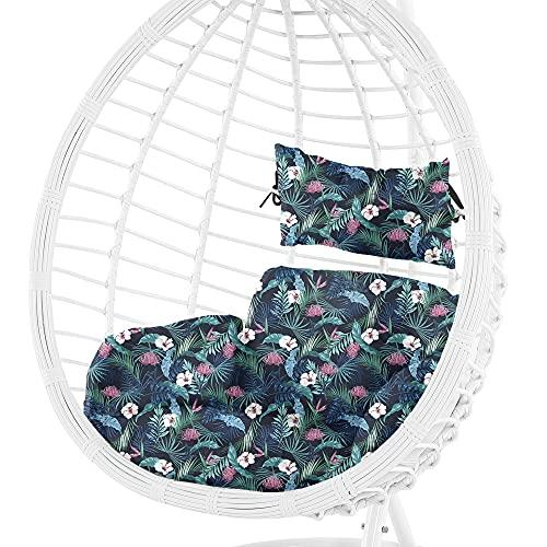 Cojín para sillón Colgante de ratán, cojín de jardín, cojín de Asiento de palés Europeo (Patrón de Flores 3, 55 x 45 cm)
