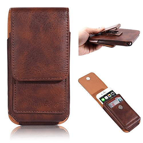 Esing 5.5' Universal Faux Leather Holster Pouch Card Slot Rotation Belt Clip for iPhone 6 6s 7 8 Plus Galaxy S6 S7 Edge LG G3 G4 G5 G6 HTC M8 M9 Huawei P10 Mate 9(Brown)