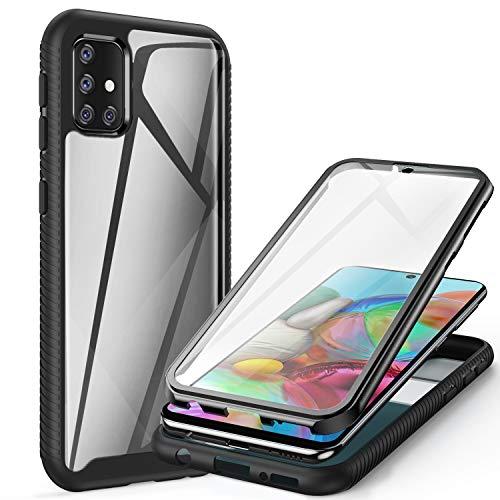 ivencase Funda para Samsung Galaxy A51, 360 Grados Transparente Case Protectora con Protector de Pantalla Incorporado Carcasa para Samsung A51 4G