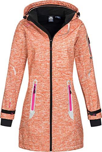 Geographical Norway Timael - Abrigo corto con capucha para mujer (tejido Softshell) coral M