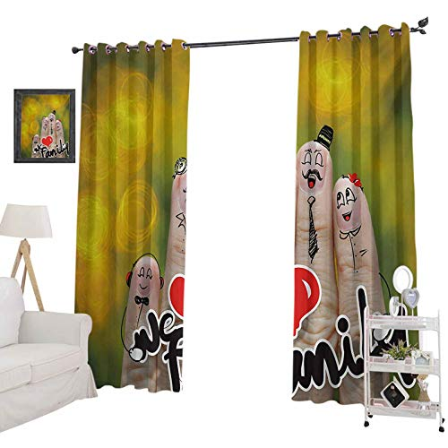 YUAZHOQI Blackout Window Curtain Happy Finger Family Holding We Love Family Words Hugging Smiling Funny Cute Artwork for Kids Decor Customized Curtains 52' x 72' Multicolor
