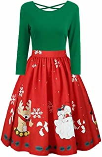 Halloween Christmas Print Flare Dress for Women Long Sleeve Dress Hollow Party Casual Dresses