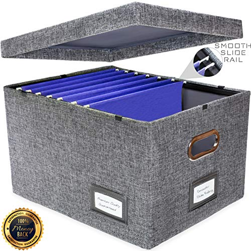 New and Improved Collapsible Hanging File Storage Organizer with Smooth Sliding Rail | Office Hanging File Box Storing Solution| Fits Letter/Legal | Charcoal | Rolling Dolly Wheels Available | 1 Pack