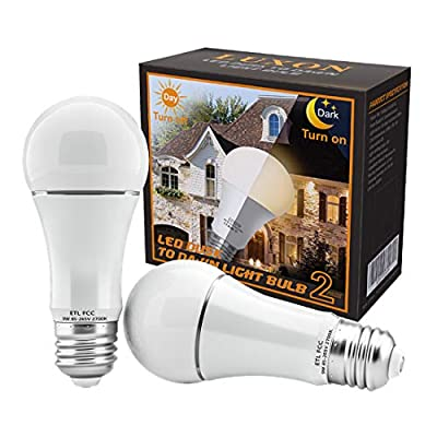 Dusk to Dawn Light Bulb 9W Auto On/Off Photocell Sensor Bulbs E26/E27 Base LED Security Bulbs 2700K Soft White for Porch Patio Garage Pack of 2 by LUXON