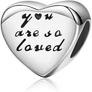 Romántico Amor You are So Loved Charm Heart Love 925 Sterling Silver Bead fit Pandora Bracelets