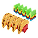 Taco Holder, Kmeivol 4 Pack Taco Holders, Colorful Taco Stand, Steady Support Taco Plates, Hard and Sturdy ABS Health Material Taco Shells, Dishwasher and Microwave Safe, Easy to Clean