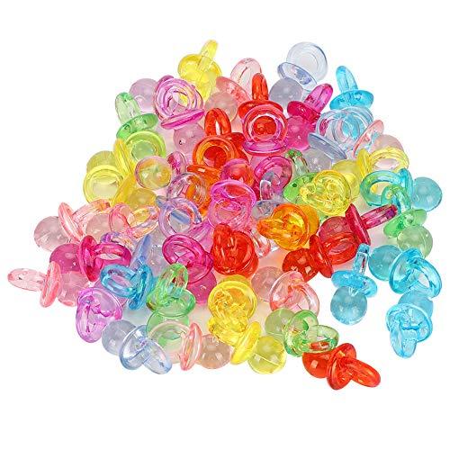 Atyhao Mini Chupete de 100 Piezas, Chupete de acrílico Colorido para bebé, Juguetes para Bautismo de bebé, Mini Juguetes de Color para decoración de Fiesta de Ducha(Mezcla de Colores Transparentes)