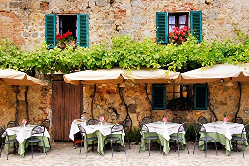 Tuscany, Italy - Cafe Tables and Chairs Outside Old Building - Photography A-92477 (12x18 Art Print, Wall Decor Travel Poster)
