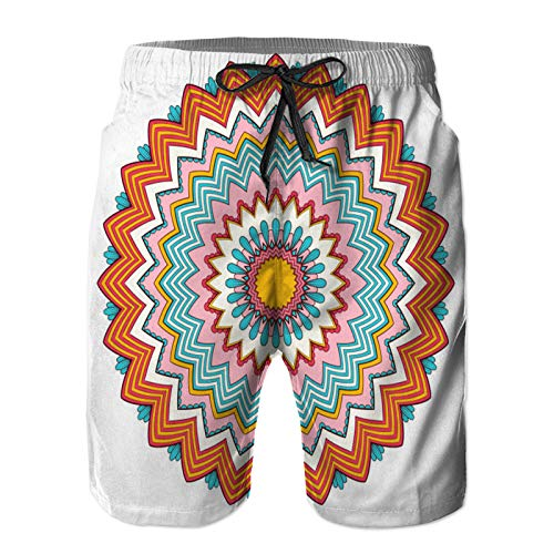 ZHIMI Men's Quick Dry Drawstring Beach Shorts Pants,Flower Round Ornament Color,Summer Surf Long Swim Trunks Board Shorts XL