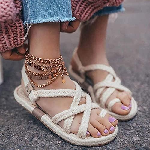 TCWDX Pantofole Corda di canapa Sandali Piatti intrecciati con cravatta Scarpe da Donna Pantofole comode Scarpe da spiaggia a Punta Aperta Sandali da passeggio quotidiani all