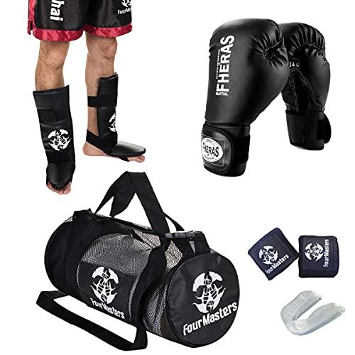 Kit Muay Thai MMA Boxe Luta Treino Luva+ Caneleira+ Acessórios (Preto, 14 Oz)