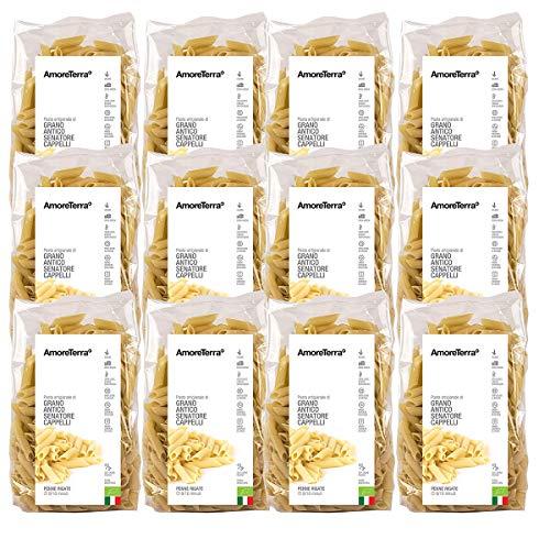 Amoreterra, (12 Pz.) Pasta Senatore Cappelli Penne Bio 500g, Grani antichi, artigianale biologica, trafila al bronzo