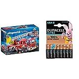 Playmobil - Camion de Pompiers avec échelle pivotante - 9463 avec Duracell Ultra Power Piles Alcalines Type AAA, Lot de 8