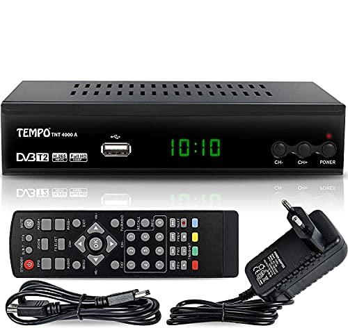 Tempo tmp4000 - Decoder Digitale Terrestre DVB T2   HD   HDMI   Ricevitore TV   PVR   H.265 HEVC   USB   DVB-T2, Nero