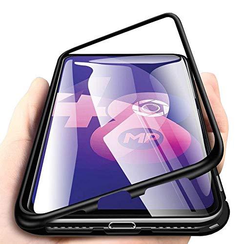 Eabhulie Oppo F11 Pro Hülle, Transparent Gehärtetem Glas Hart Rückschale mit Magnetische Adsorption Aluminium Metall Bumper Rahmen Full Schutzhülle für Oppo F11 Pro Schwarz