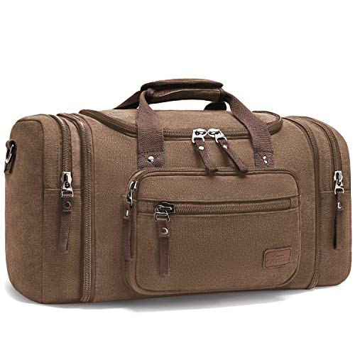 Mens Canvas Holdall, Fresion Classy Travel Duffle Overnight Weekend Satchel Totes Bag with Two Side Pockets for Extensions(Coffee 53x30x25)