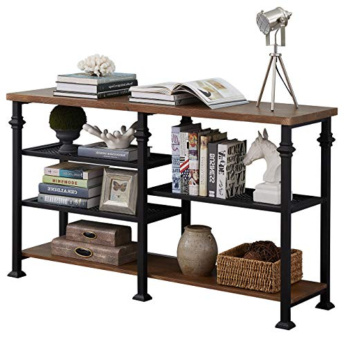 Homissue 5 Tier Industrial Console Sofa Table with Storage...
