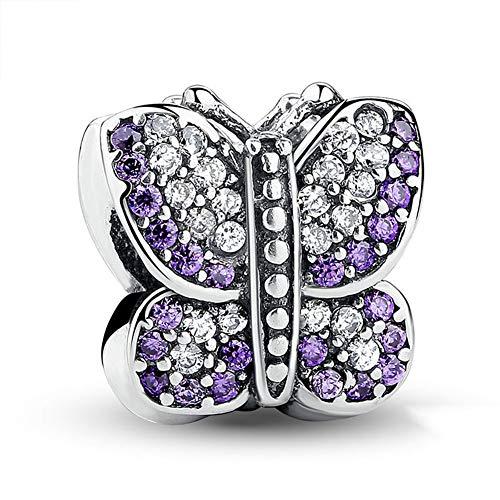 Abalorio de mariposa con cristales australianos de plata de ley 925 Animal Charm aniversario para pulsera Pandora