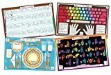 Tot Talk Educational Kids Placemats: Learn to Type, Cursive, Sign Language, Table Setting & Etiquette- Reversible Activities- Waterproof, Washable, Wipeable, Double-Sided Table Mats, Made in The USA