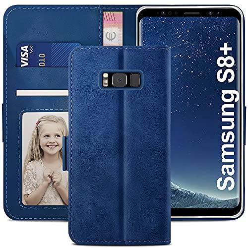YATWIN Handyhülle Samsung Galaxy S8 Plus Hülle, Klapphülle Samsung Galaxy S8 Plus Premium Leder Brieftasche Schutzhülle [Kartenfach] [Magnet] [Stand] Handytasche Hülle für Samsung Galaxy S8+, Blau
