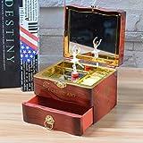 Coherny Creative Spin Music Box Ballerina Jewelry Box Mirror Play Compact Storage Box Birthday Gift for Girl