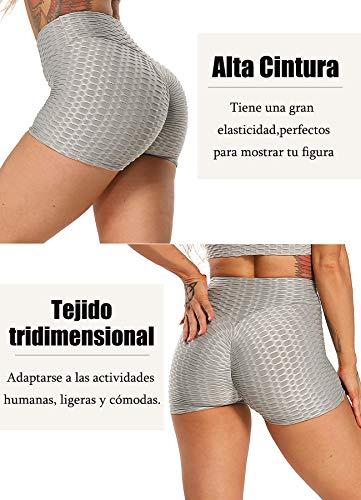 FITTOO Pantalones Cortos Leggings Mujer Mallas Yoga Alta Cintura Elásticos Push Up Suave #1 Gris XL