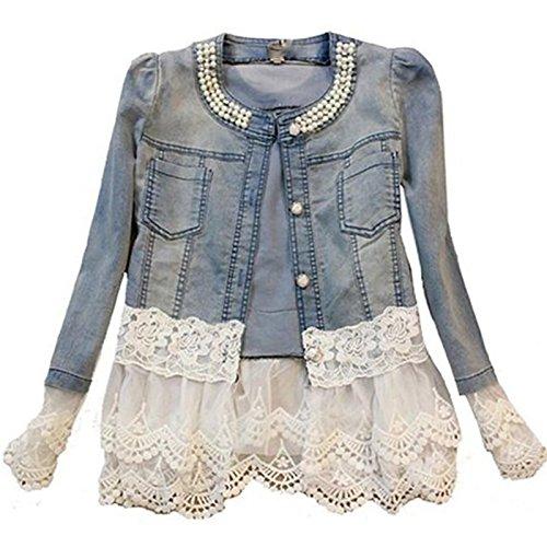 Daman Individuelle Perlen Spitze Nähen war dünn Jeansjacke Mantel Outwear Spitzenbolero Tops kurzshirt (M)